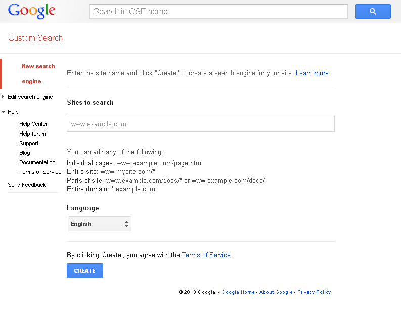 Custom Search Create CSE