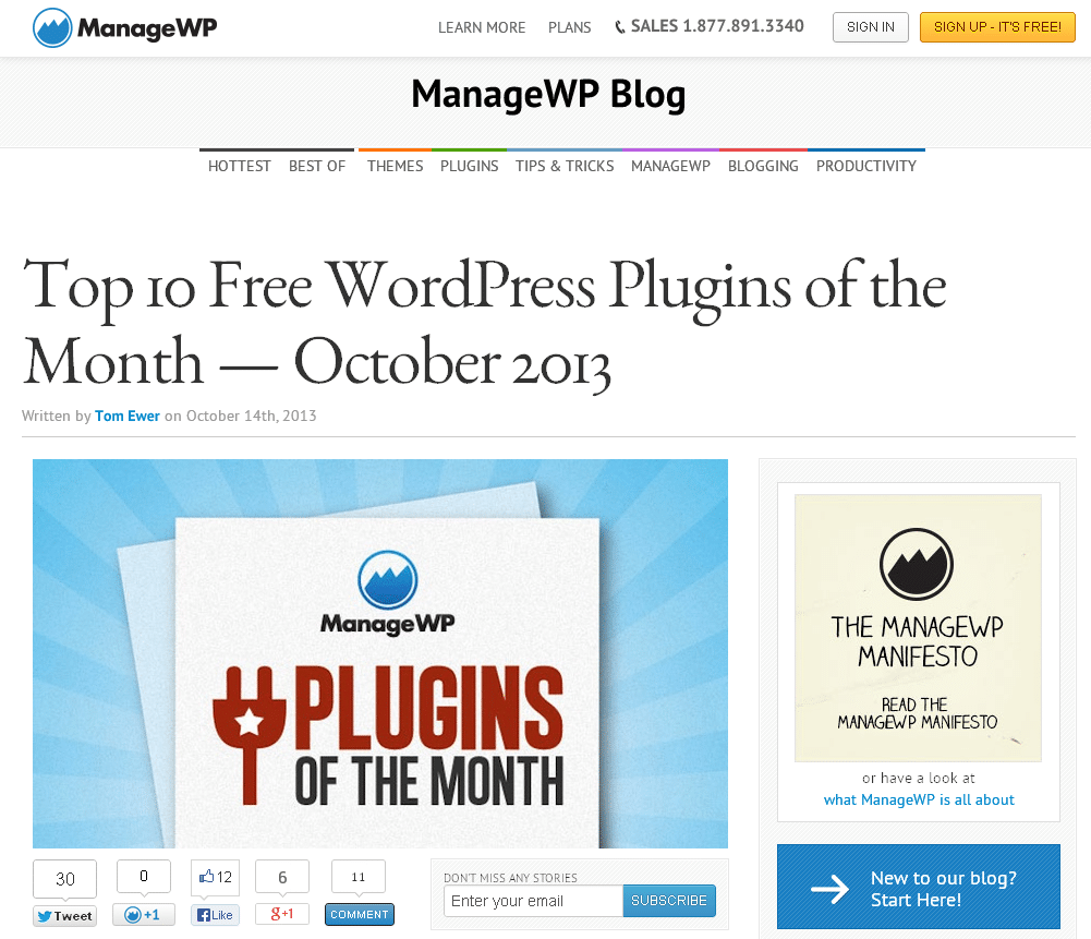 Top 10 Free WordPress Plugins of the Month — October 2013