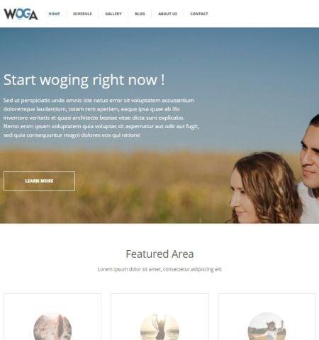 Fitness and lifestyle WordPress themes top choice: Woga
