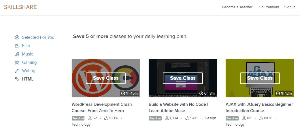 skillshare WordPress courses for beginners