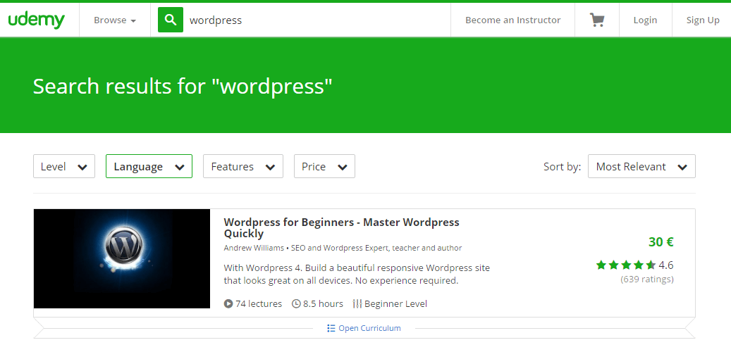 udemy WordPress courses for beginners