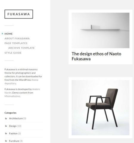 Fukasawa - one of the best looking free photography WordPress themes