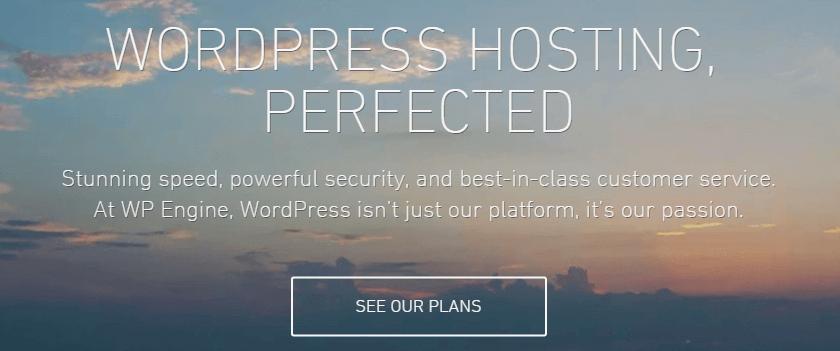 A screenshot of WP Engine's homepage.