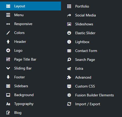Avada theme options sidebar