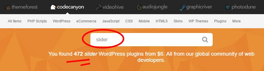Sliders on CodeCanyon