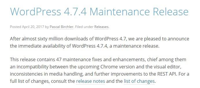 April 2017 WordPress news: New version of WordPress