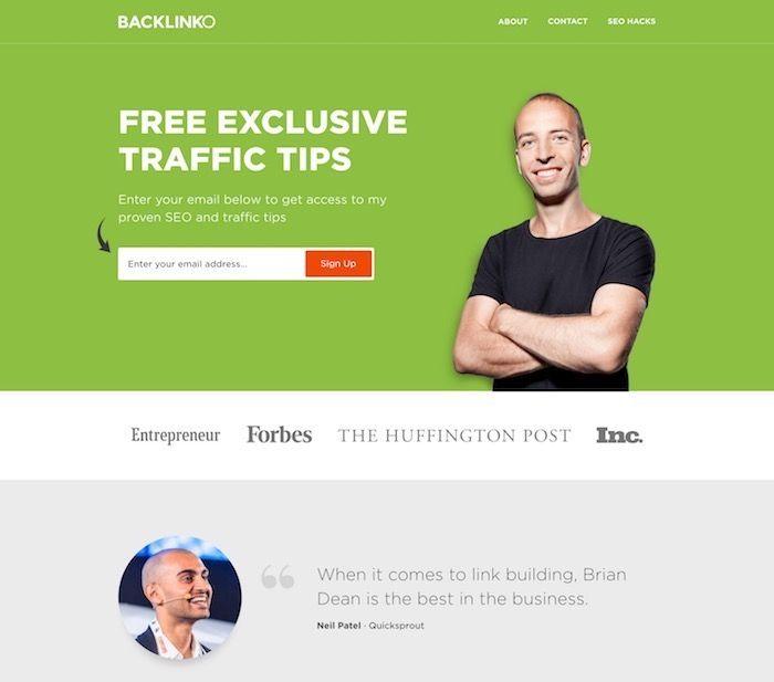 blog homepage example of Backlinko