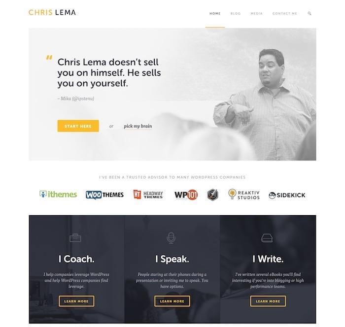 blog homepage example of Chris Lema