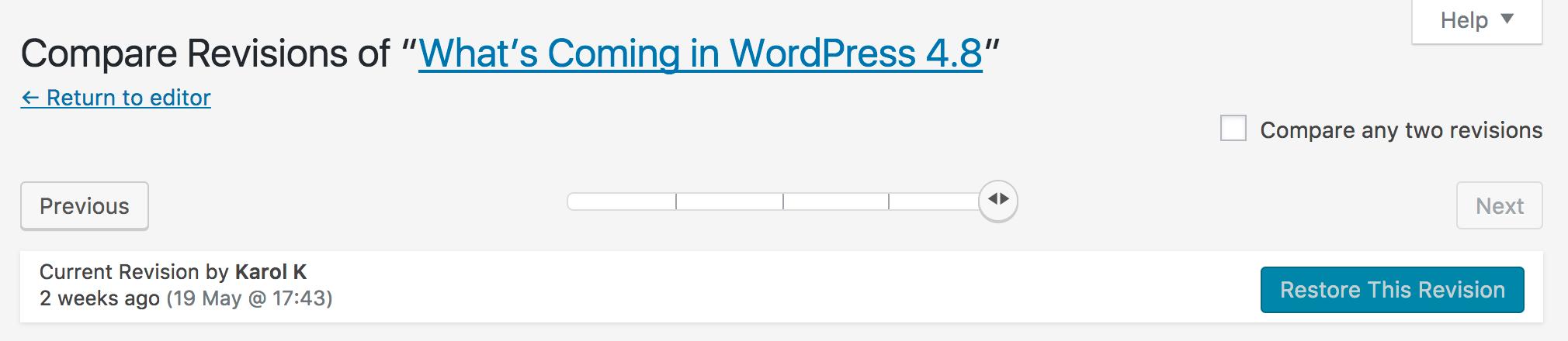 WordPress revisions bar