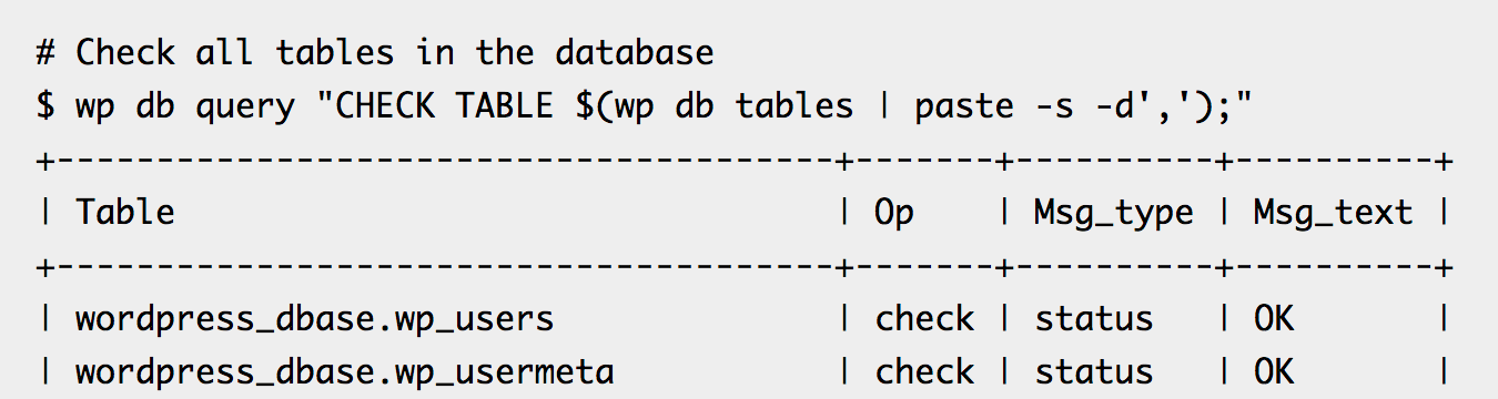 WP-CLI database