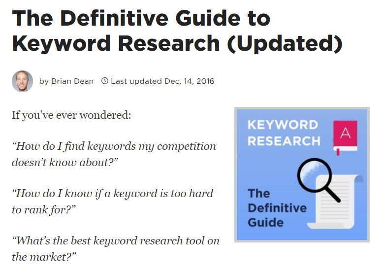 Brian Dean's Guide to Keyword Research