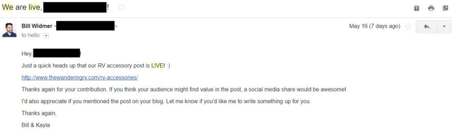 Email outreach to promote your blog
