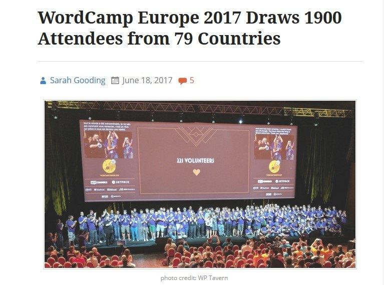 June 2017 WordPress News: WordCamp Europe 2017
