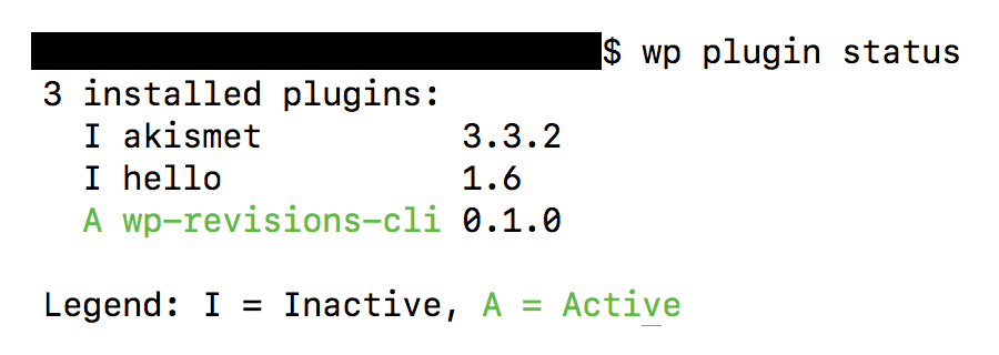 WP-CLI plugin status