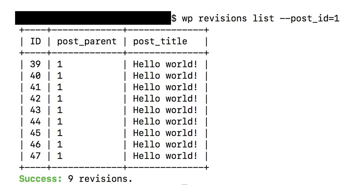WP-CLI revisions