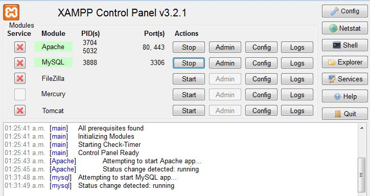 The XAMPP dashboard.