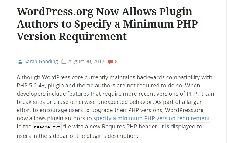 Specify a Minimum PHP Version Requirement