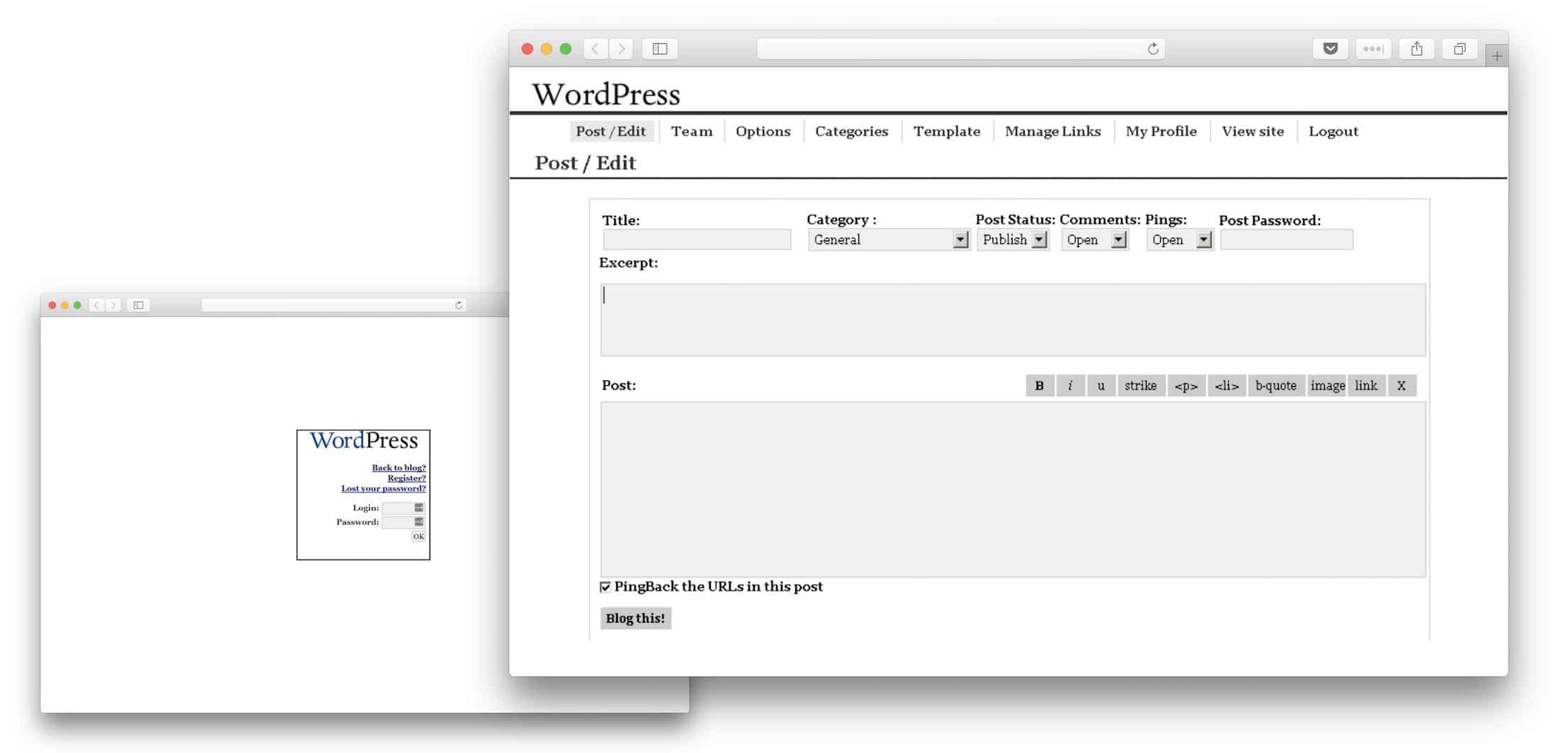 WordPress 0.7 UI