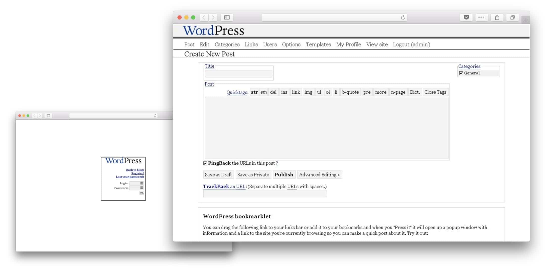 WordPress 1.0 UI