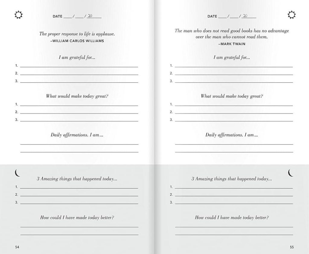 The questions in the Five Minute Journal