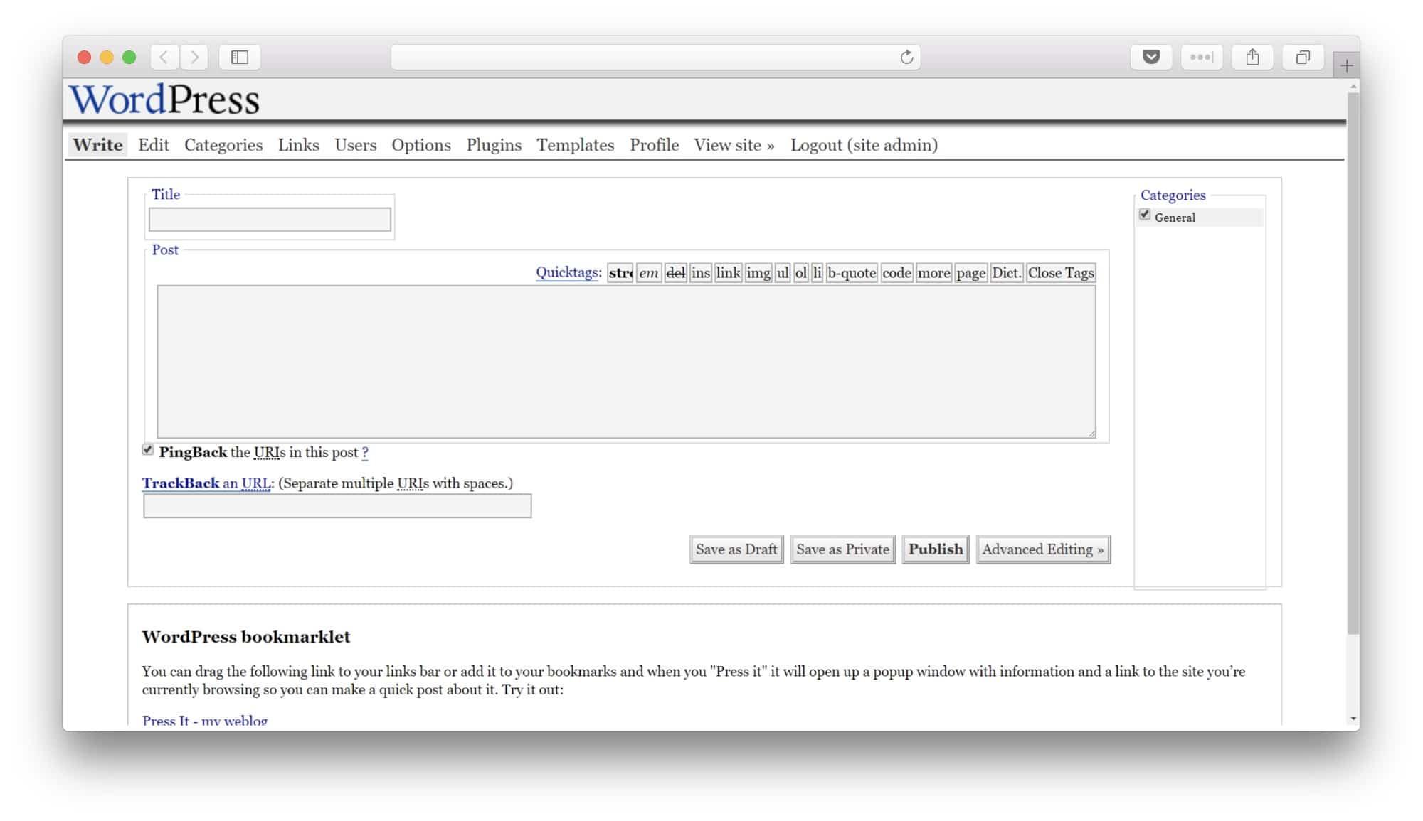 WordPress 1.2 WRITE