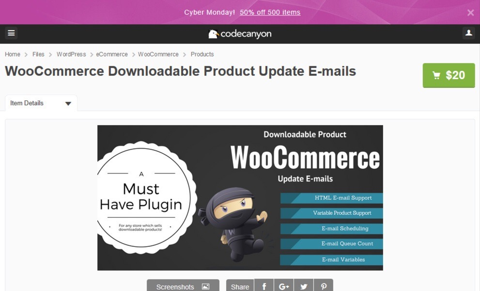WooCommerce Downloadable Product Update Emails