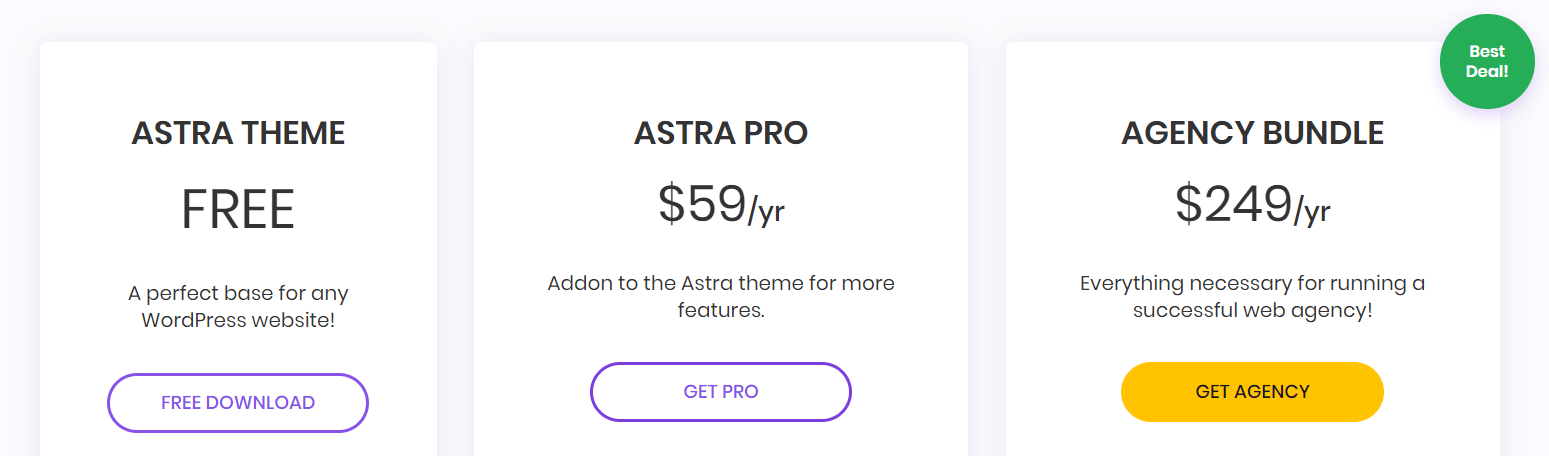 Pricing for the Astra theme.
