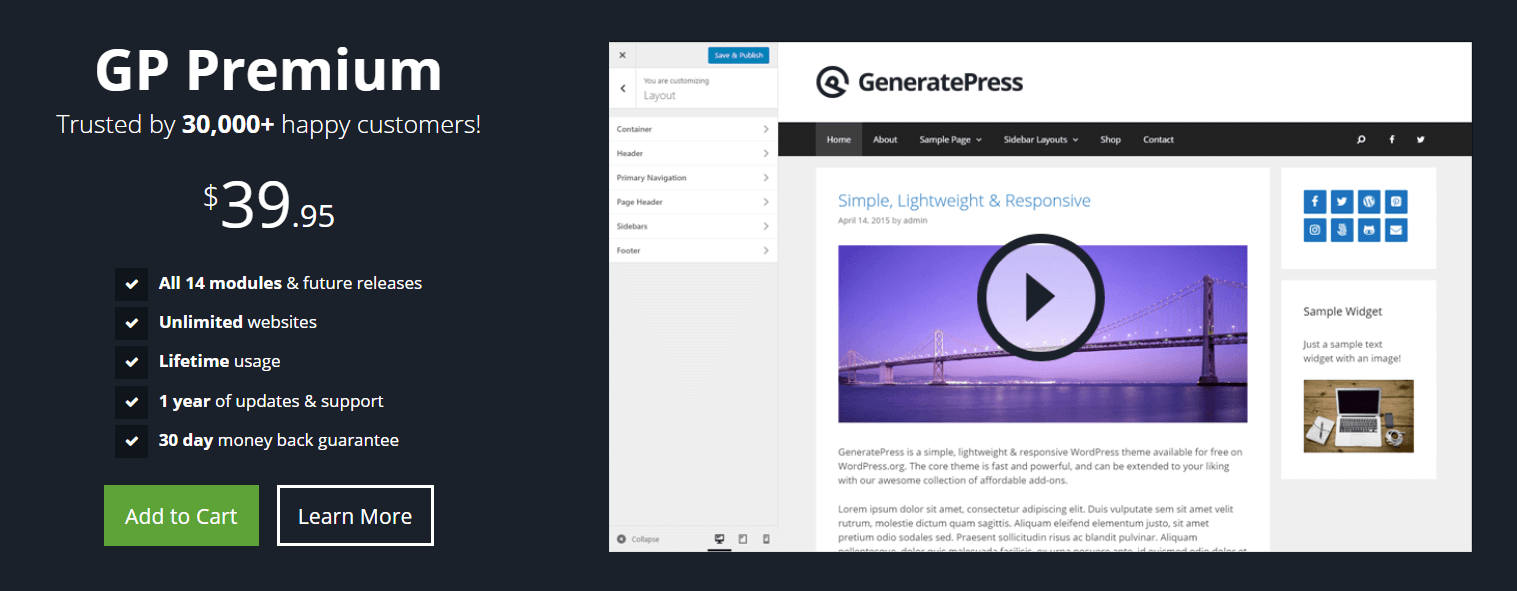 Pricing for the GeneratePress theme.