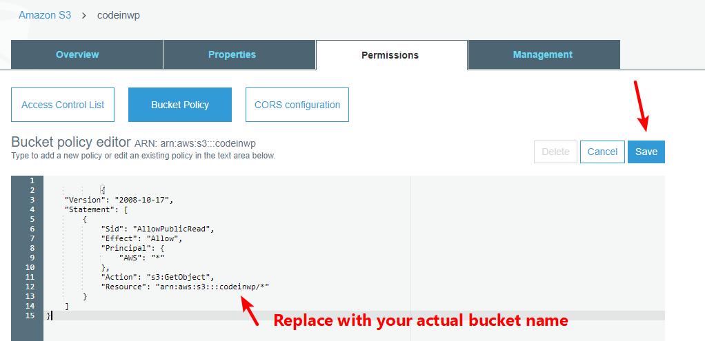 enter bucket policy