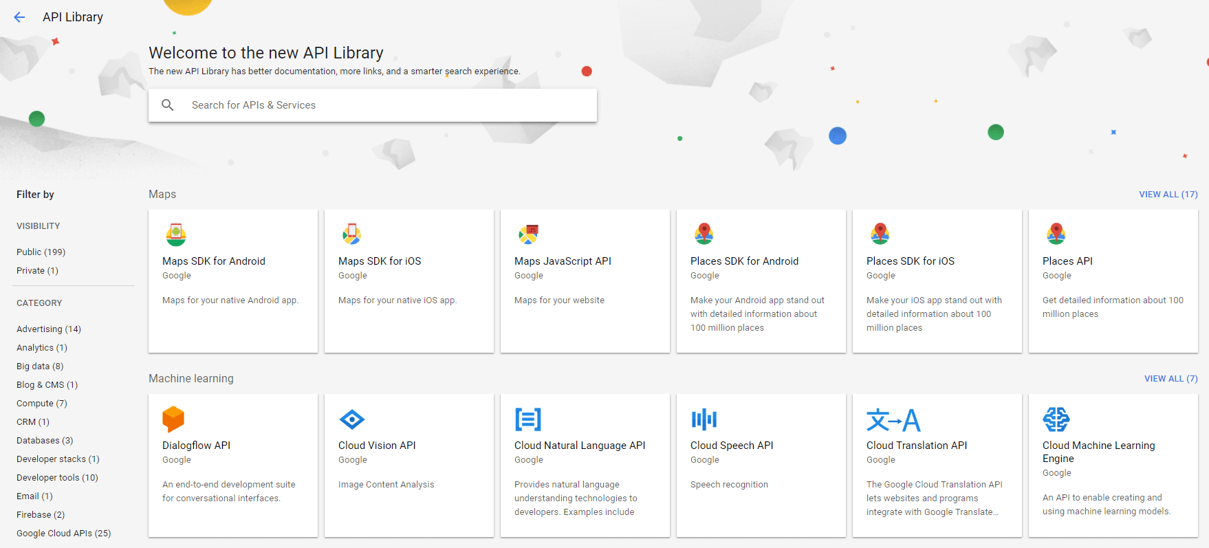 Google's library of APIs.