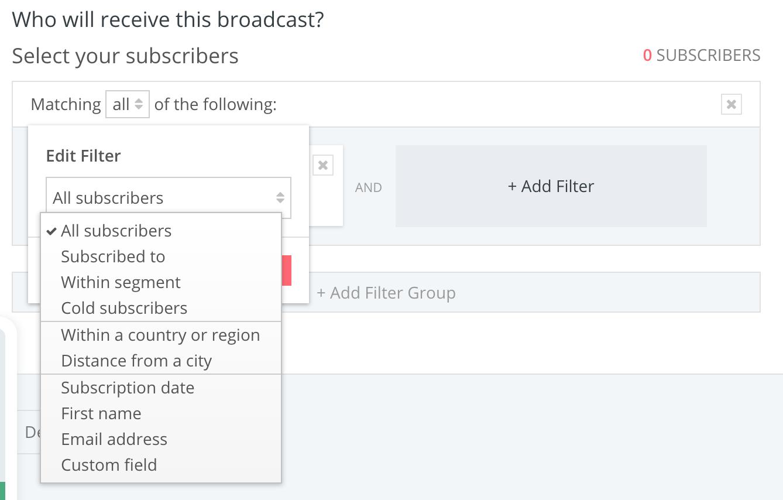 ConvertKit filters