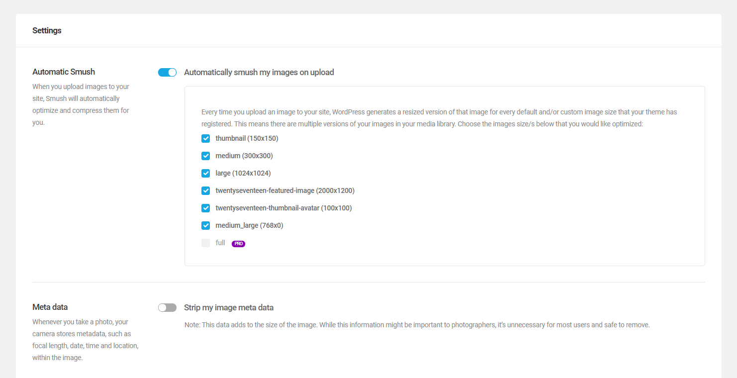 More WP Smush plugin settings.