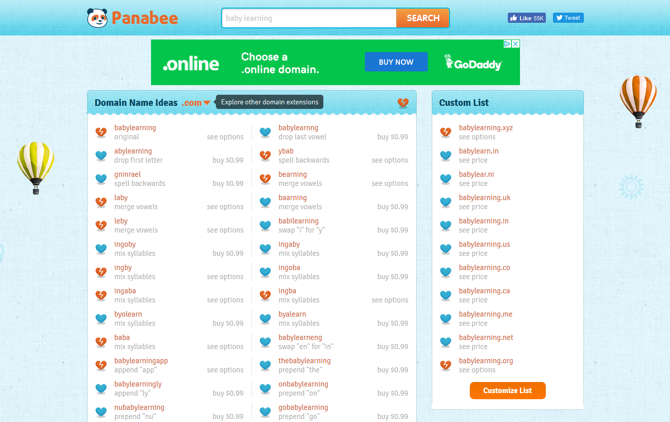 The variations in the Panabee search provides more interesting opportunities for a domain name