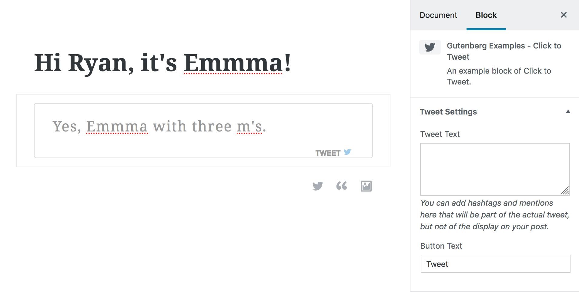 Gutenberg Click to Tweet Inspector Controls